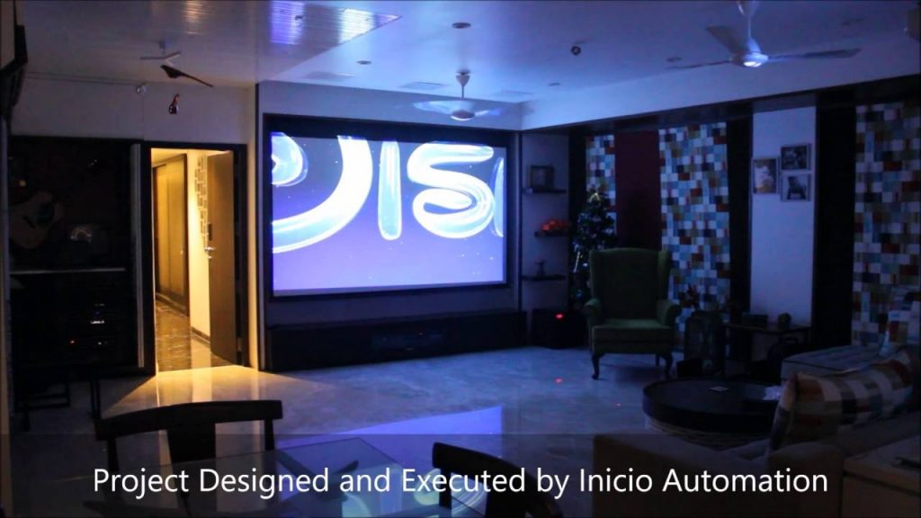 Home Theatre In Living Room Projector And Tv Home Automation Ipad Based Control