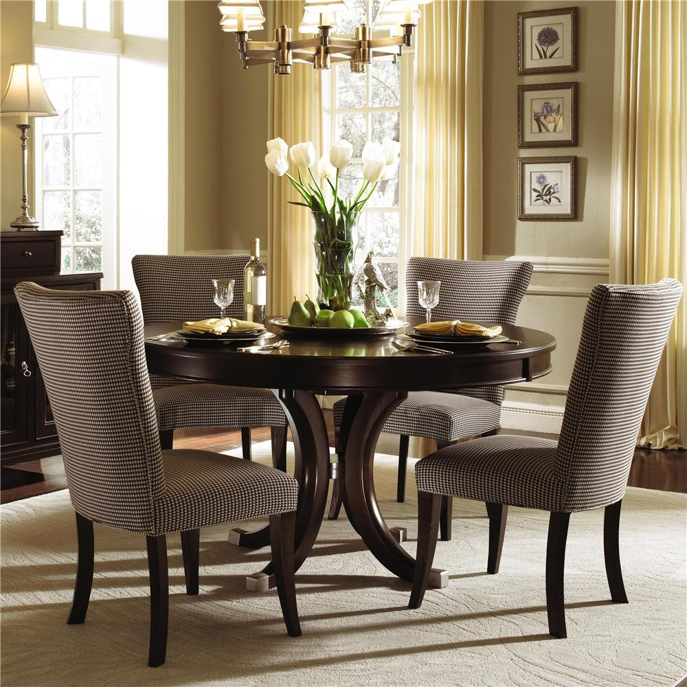 Kincaid Furniture Alston Round Dining Table Four Upholstered Side