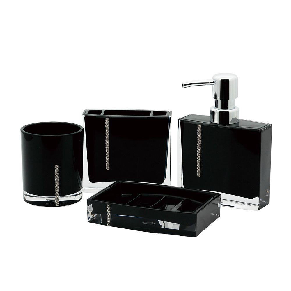 Kingston Brass Crystal 4 Piece Bath Accessory Set In Black