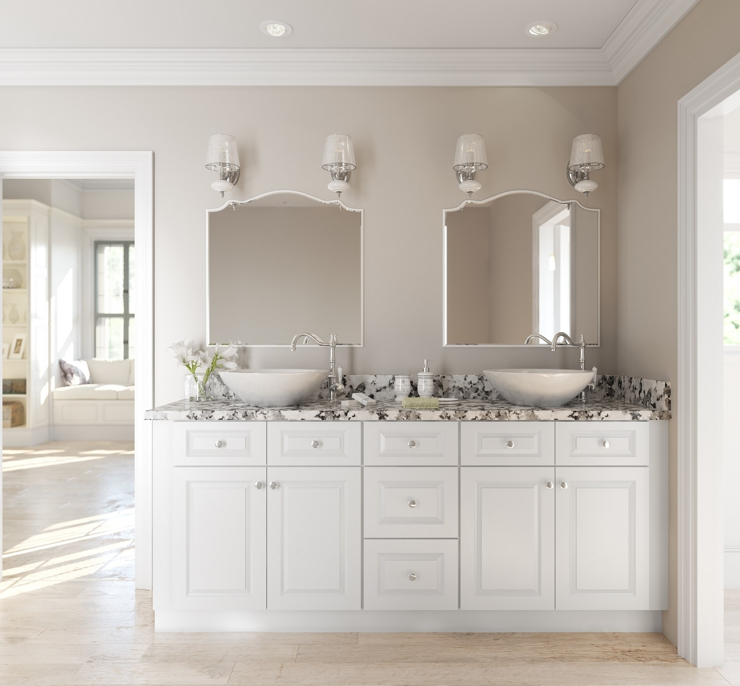 Lakewood White Ready To Assemble Bathroom Vanities Cabinets