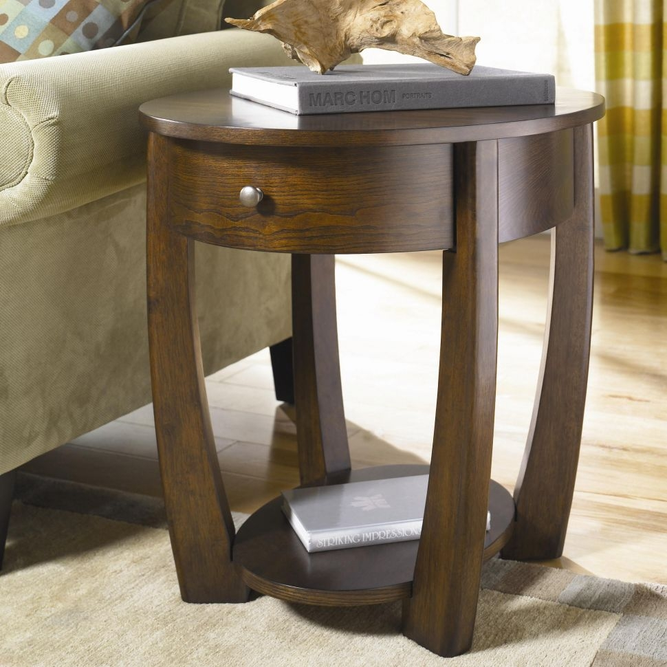 Living Room Awesome Round End Table With Handy Drawer That Bring