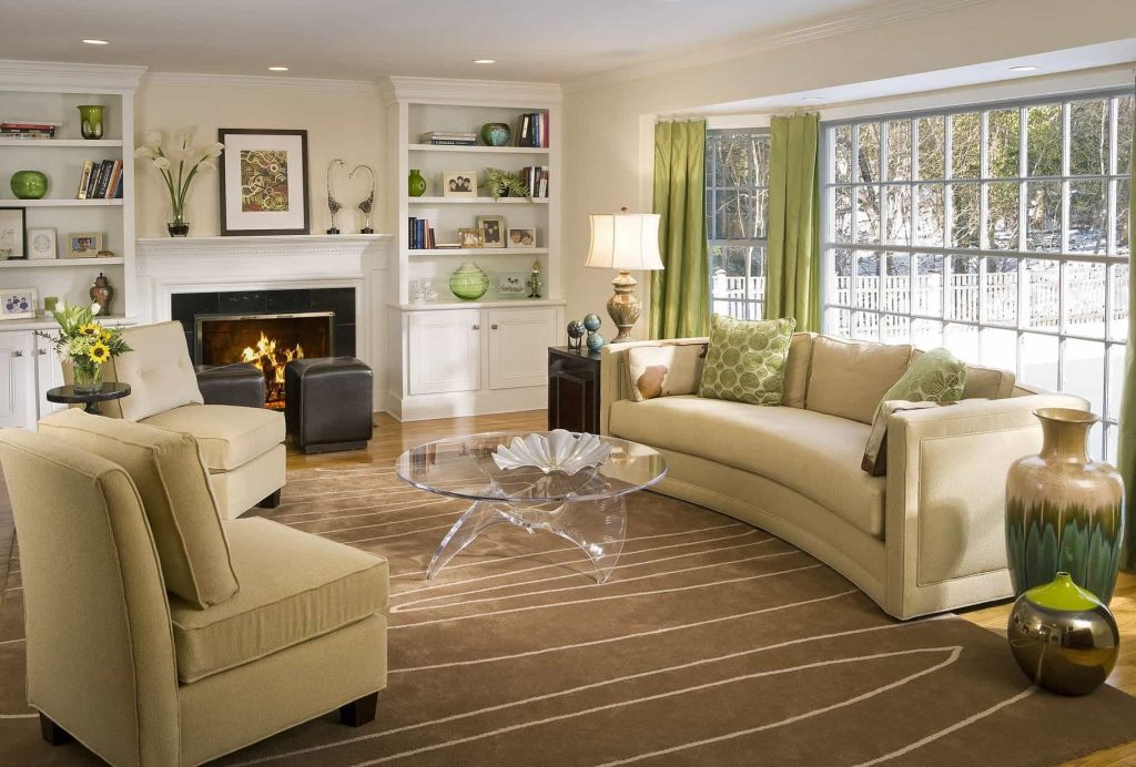 Living Room With Fireplace And Cream Sofa Decorate Your Room With