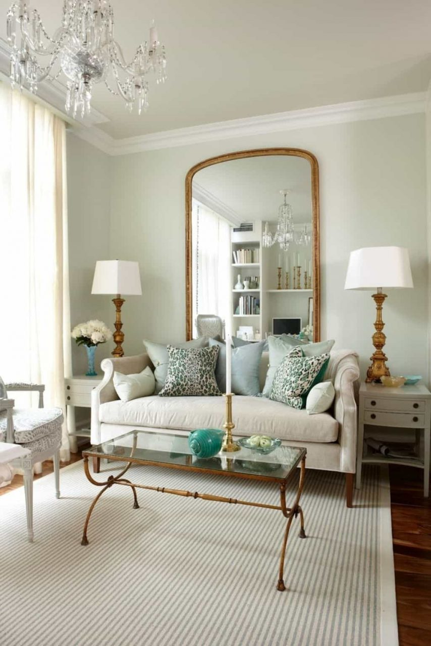 Living Room With Wall Mirror And Cream Sofa Decorate Your Room