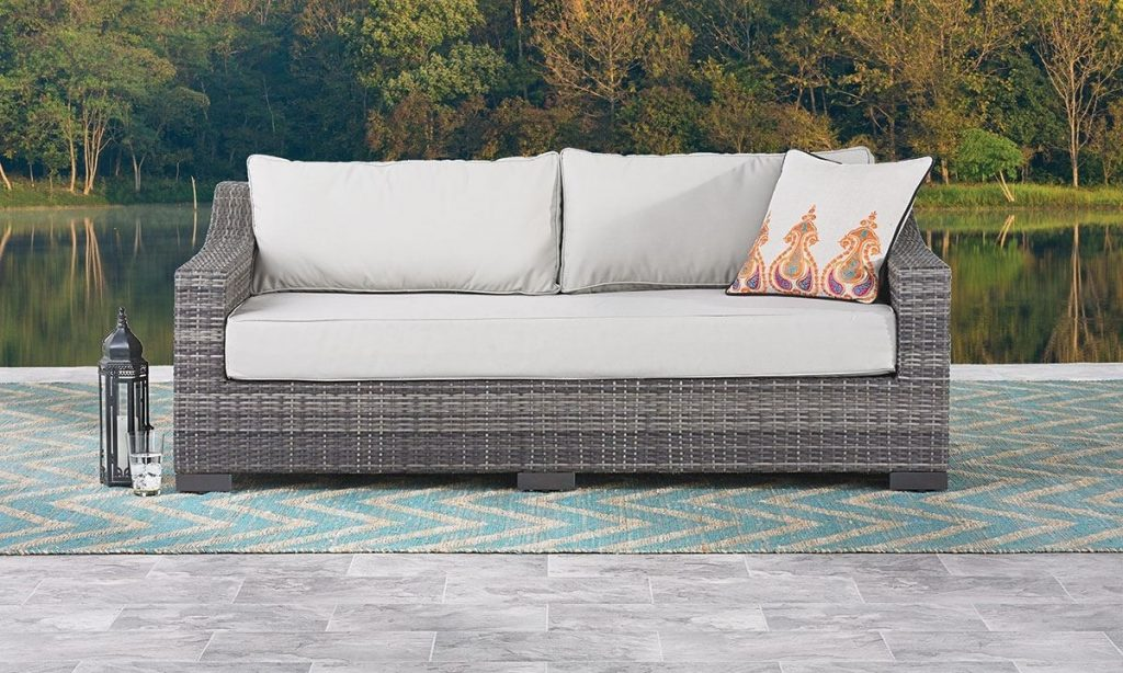 Malibu Hand Woven Resin Wicker Outdoor Sofa The Dump Luxe
