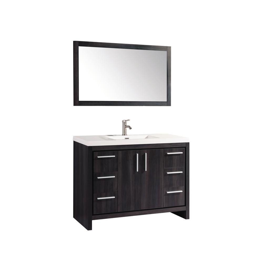 Miami 48 In W X 195 In D X 36 In H Vanity In Black Walnut With