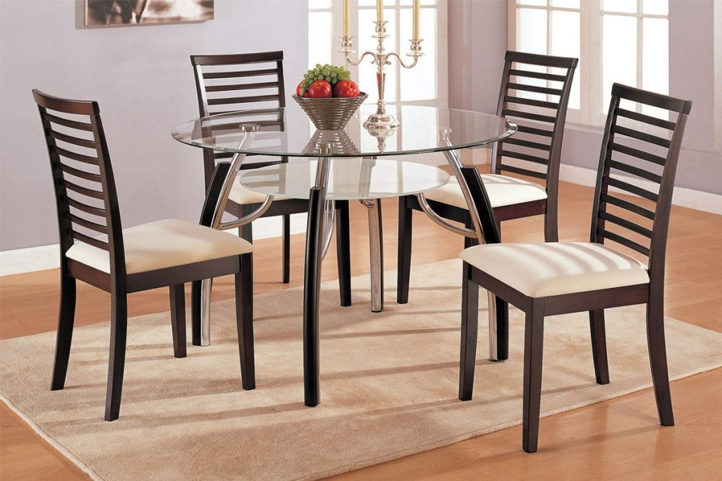 Modern Wooden Dining Chairs With Ivory Pad And Double Glass Round