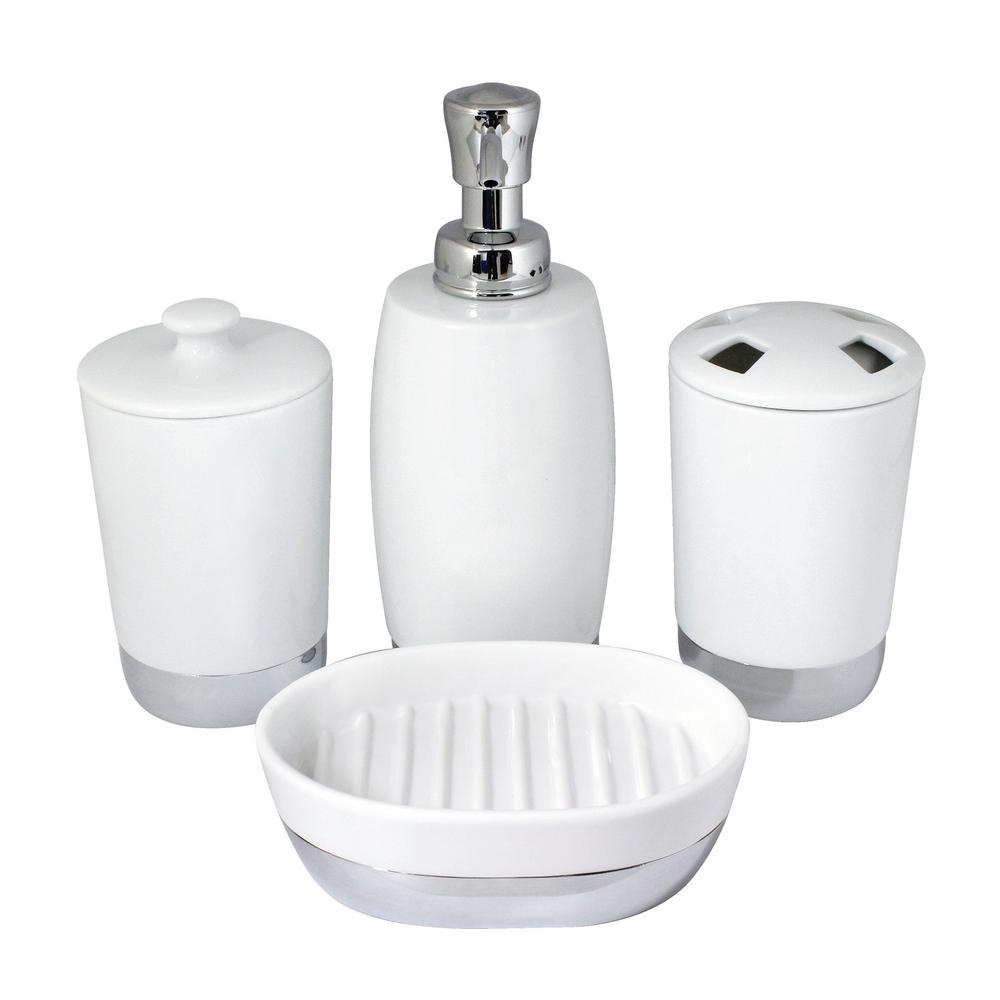 Modona Arora 4 Piece Bathroom Accessories Set In White Porcelain And