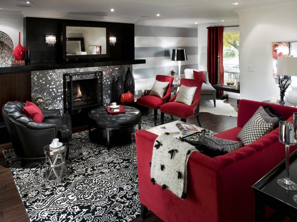 Retro Red Black And White Family Room Hgtv