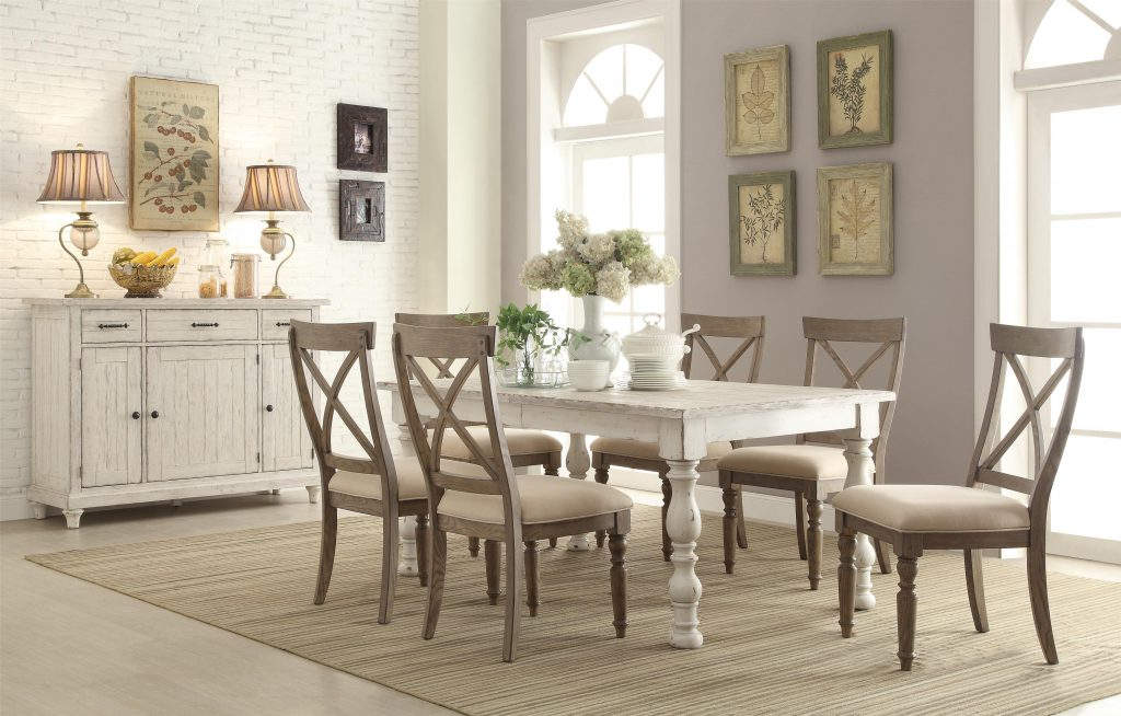Riverside Furniture Aberdeen Rectangular Farmhouse Expandable Dining