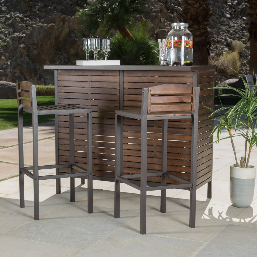 Shop Milos Outdoor 3 Piece Acacia Wood Bistro Bar Set Christopher