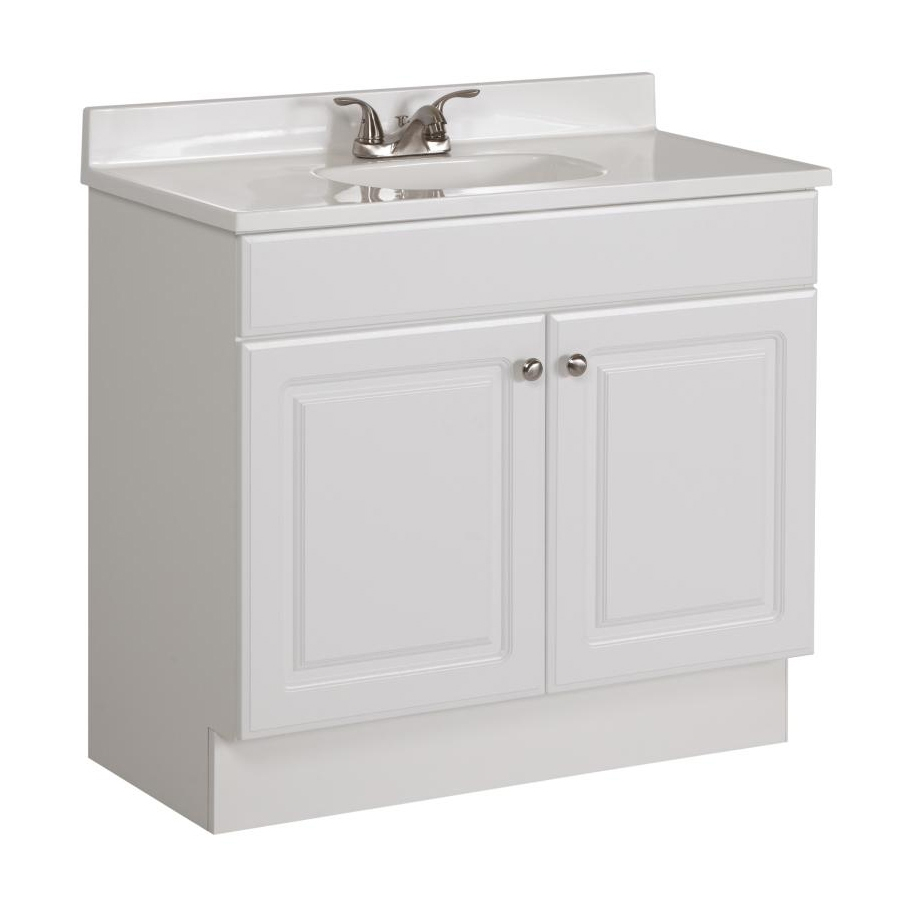 Shop Project Source White Single Sink Vanity With White Cultured