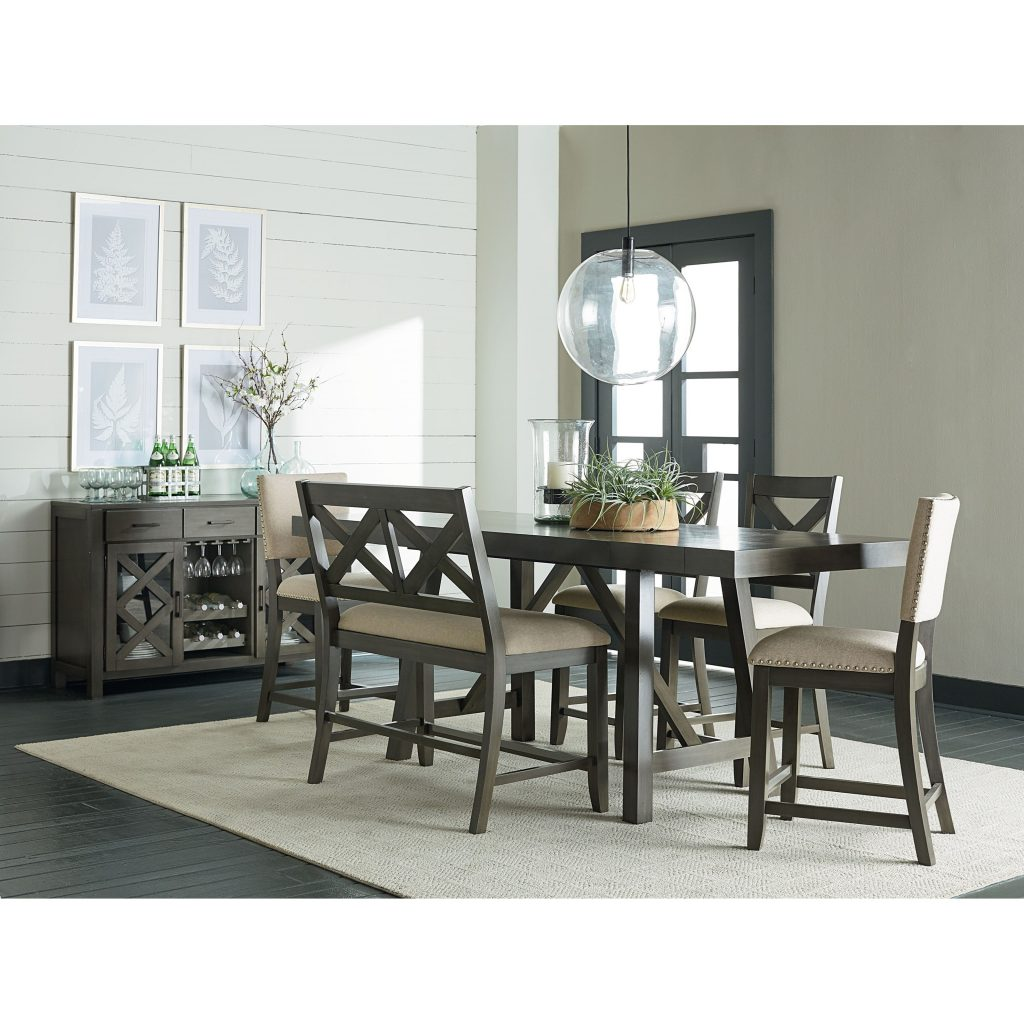Standard Furniture Omaha Grey 6 Piece Counter Height Trestle Table