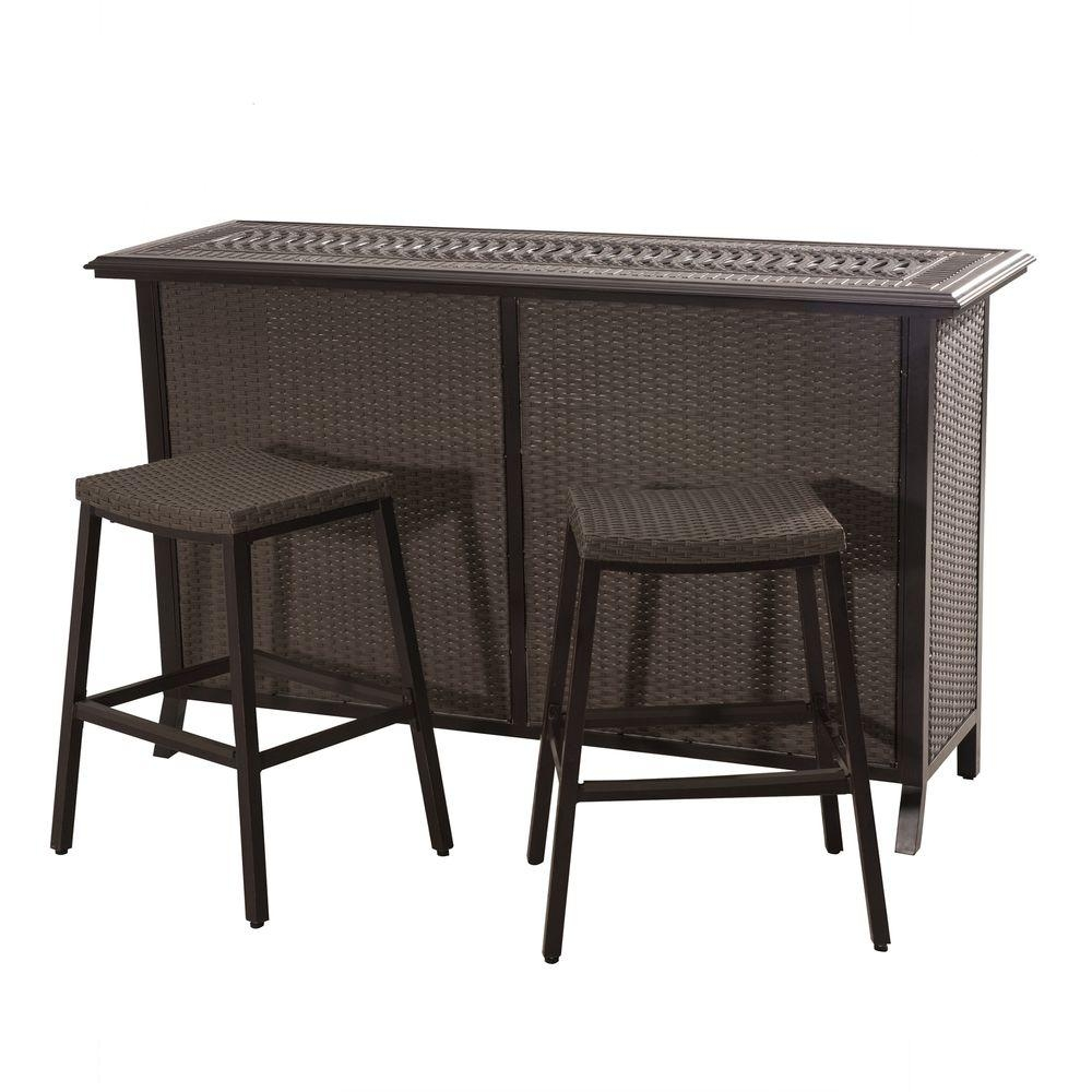 Sunjoy Tulsa 3 Piece Patio Serving Bar Set 110214002 The Home Depot