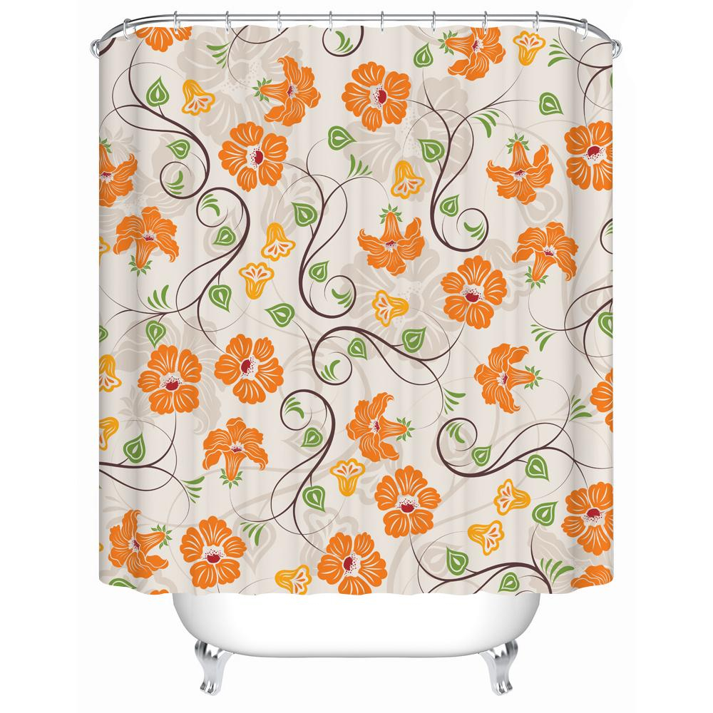 2019 Nanaz Shower Curtains Pretty Pale Yellow Flowers Waterproof