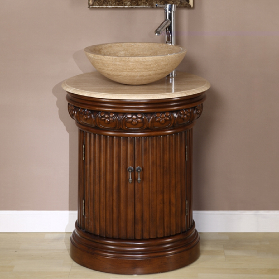 24 Inch Small Pedestal Bath Vanity With Vessel Sink