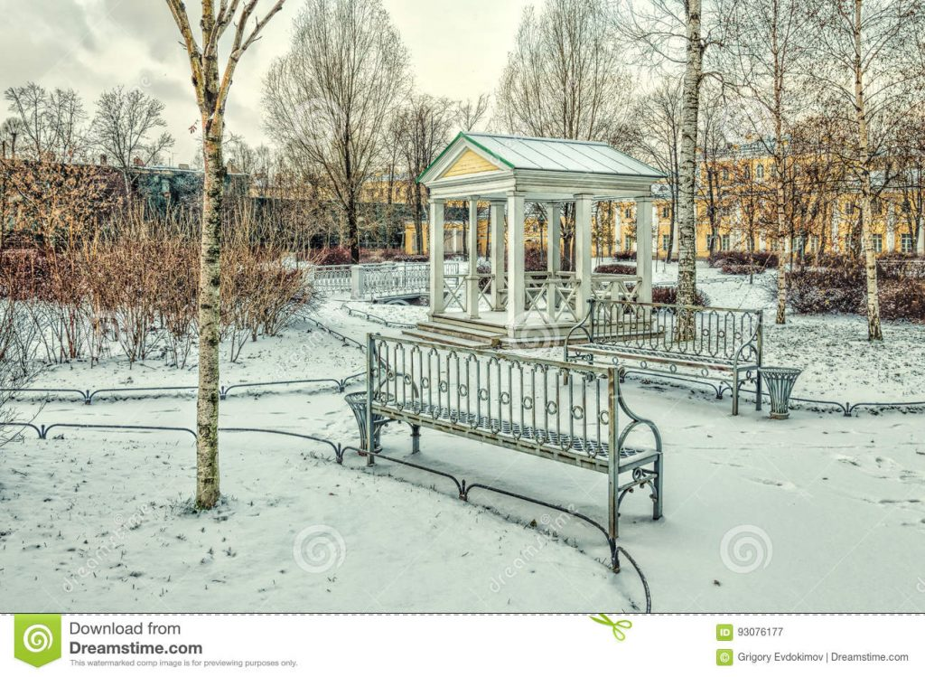 A Bridge And A Gazebo In The Polish Garden In Winter Stock Image