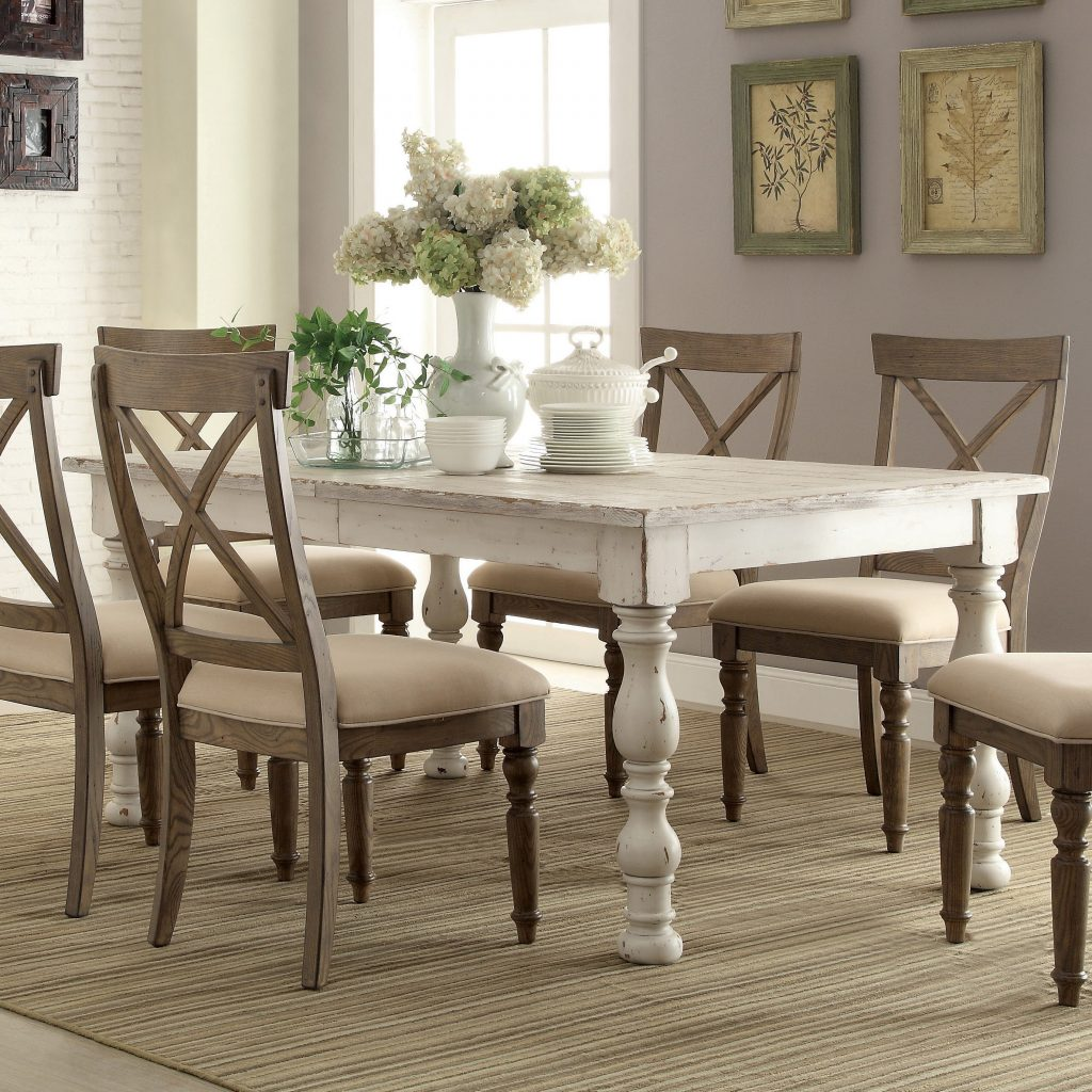 Aberdeen Wood Rectangular Dining Table In Weathered Worn White