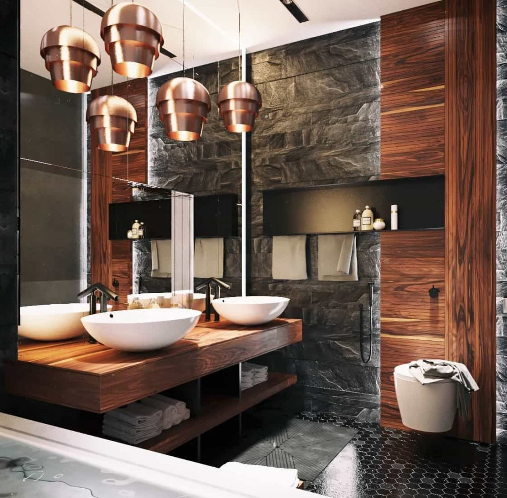 Amazing Masculine Bathroom With Pendants Over Vessel Sinks And