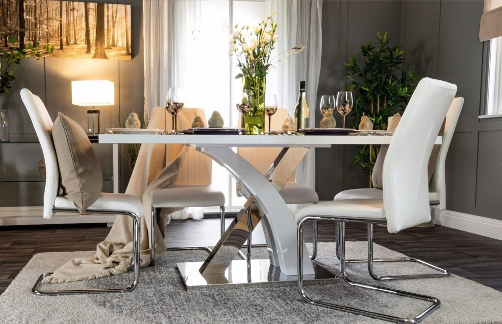 Atlanta White Grey High Gloss Chrome Dining Table Set And 6 Leather