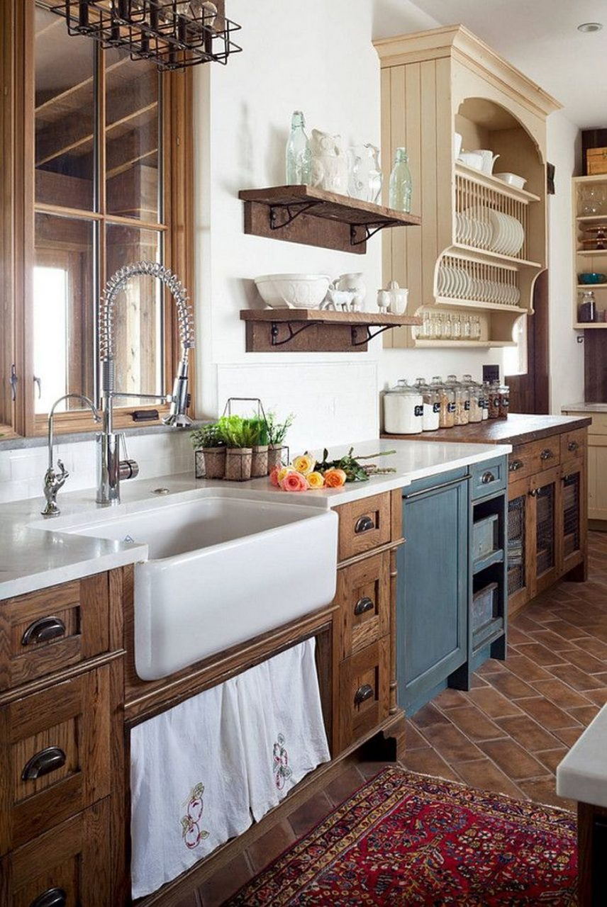 Awesome 38 Stunning Rustic Farmhouse Kitchen Cabinets Ideas