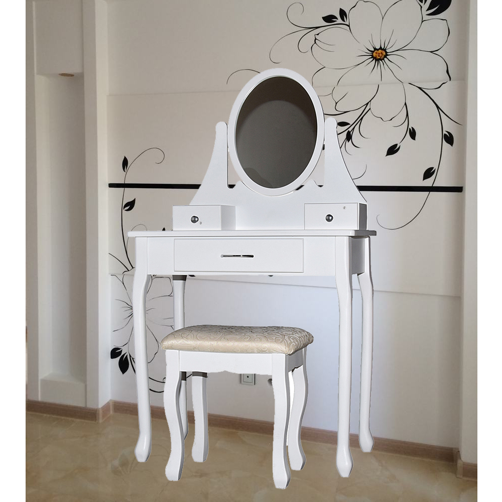 Bedroom Vanity Set 3 Drawers With Mirror Cushioned Stool Dressing