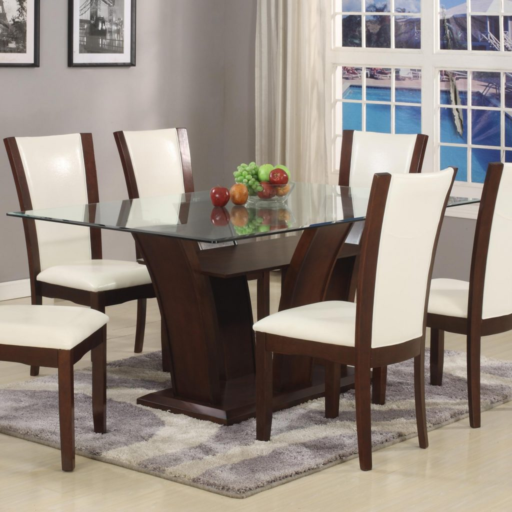 Belfort Essentials Camelia White Rectangular Dining Table With Glass