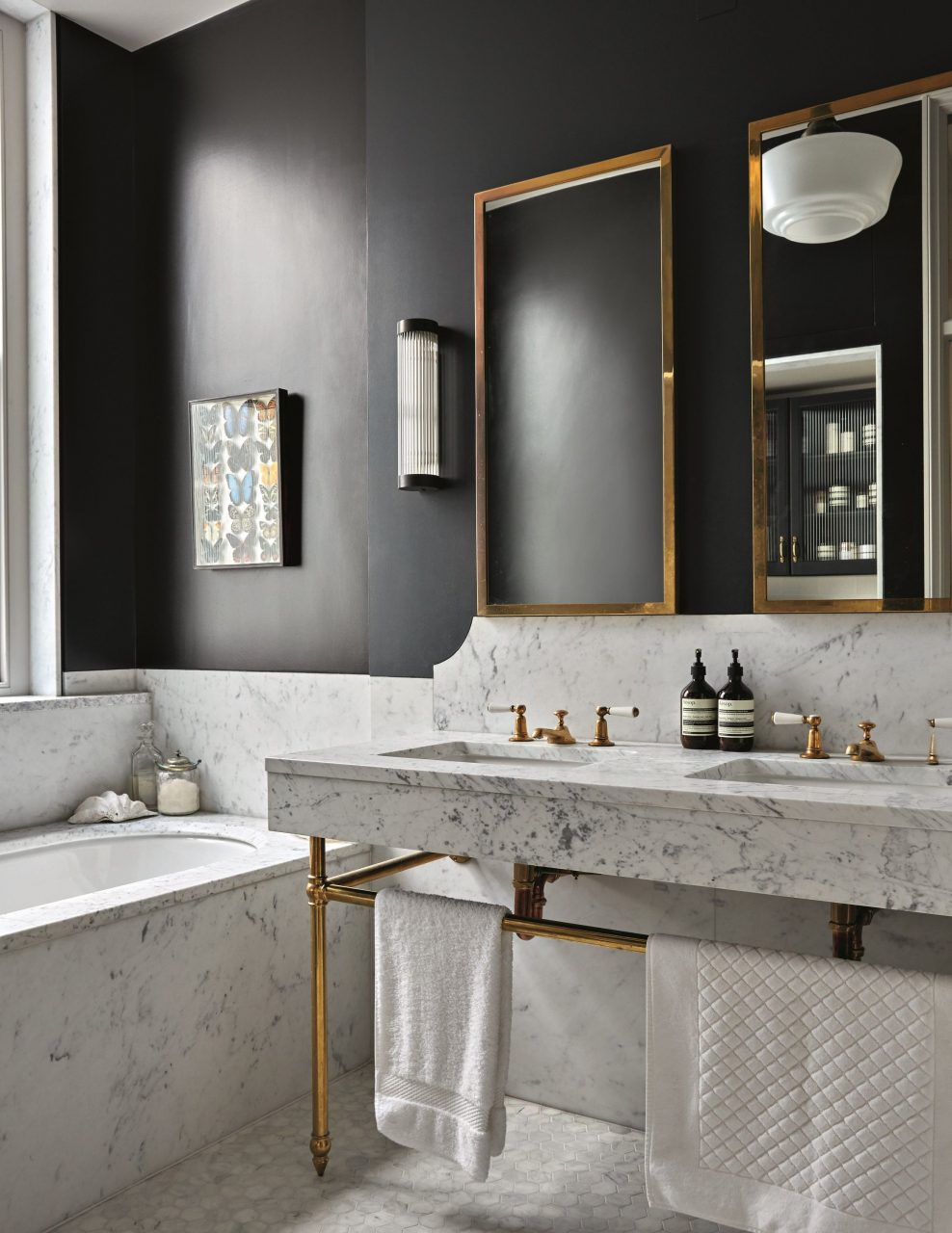 Black Bathroom Masculine Bathroom Marble Brass And Off Black