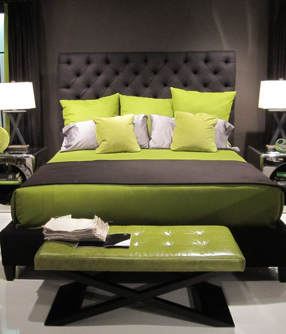 Black Wooden Bed With Gray And Lime Green Bedding Set Also Bench In