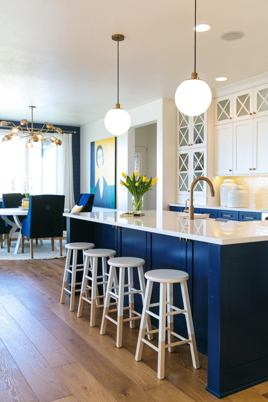 Blue And White Kitchen With Kitchen Island Stools And Blue And