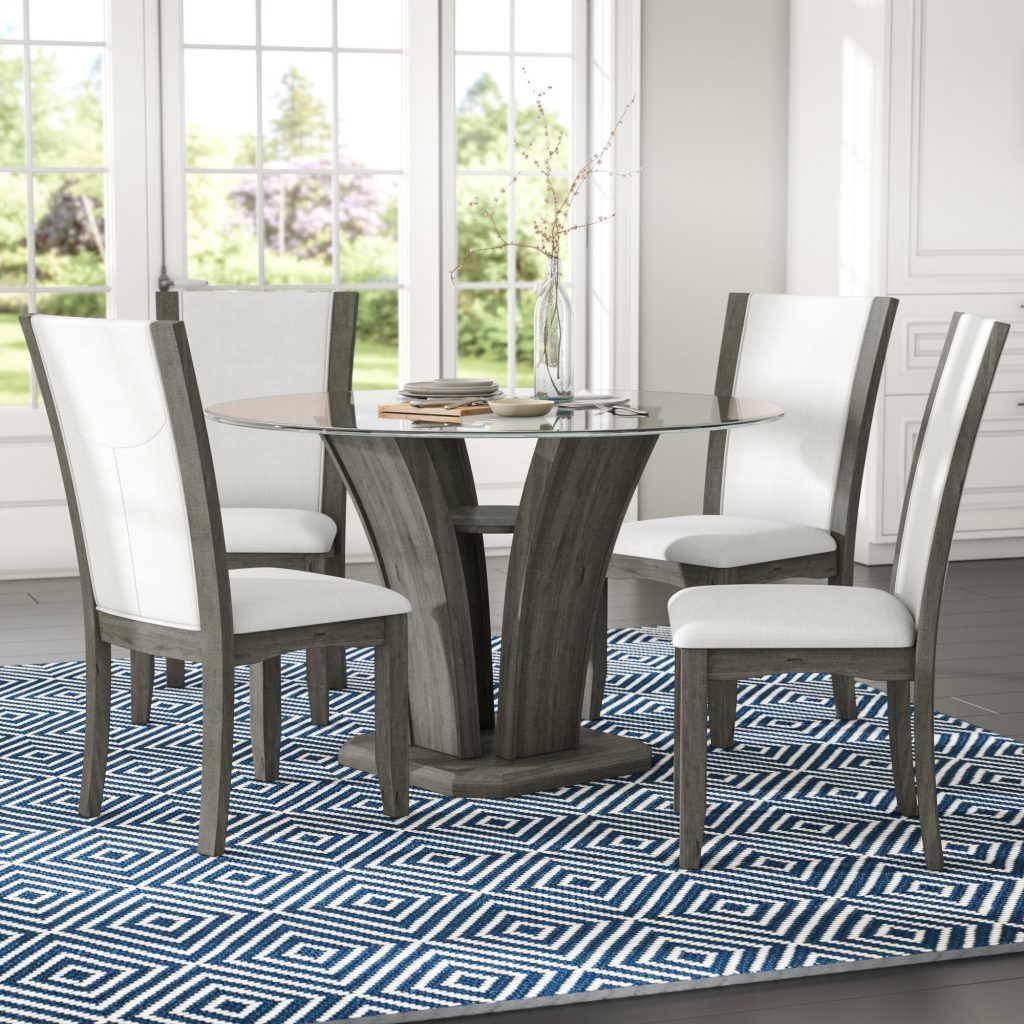 Brayden Studio Kangas 5 Piece Glass Top Dining Set Reviews Wayfair