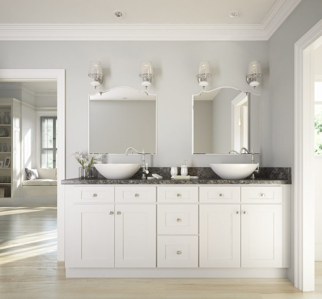 Brilliant White Shaker Ready To Assemble Bathroom Vanities