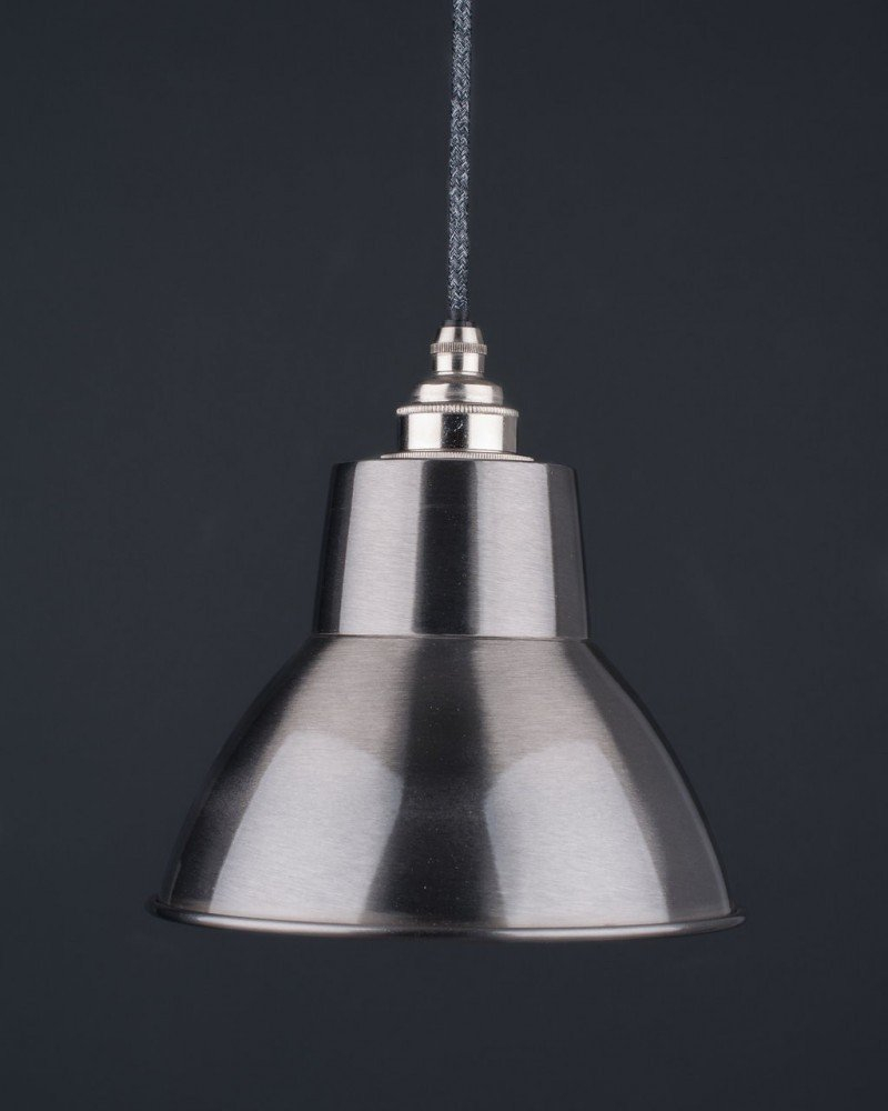 Brushed Steel Industrial Pendant Ceiling Light Moccas Industrial