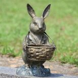 Bunny Rabbit Basket Planter Garden Statue Butler Metal Sculpture