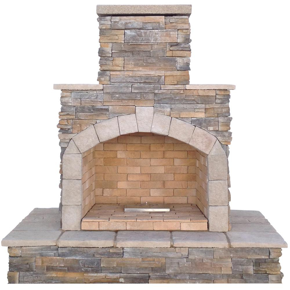 Cal Flame 78 In Brown Cultured Stone Propane Gas Outdoor Fireplace