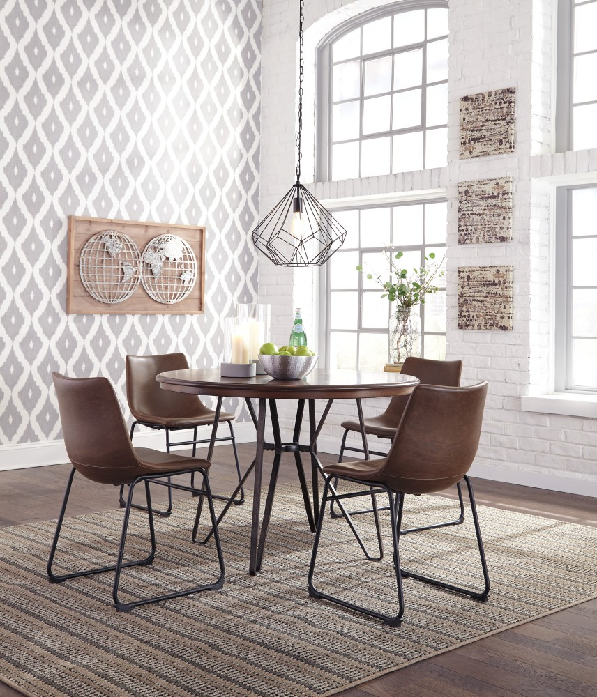 Centiar Round Dining Room Table 4 Uph Side Chairs D37215014
