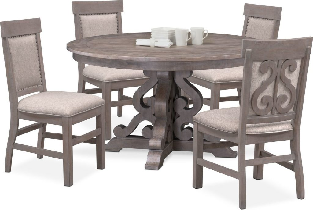 Charthouse Round Dining Table And 4 Upholstered Side Chairs Gray