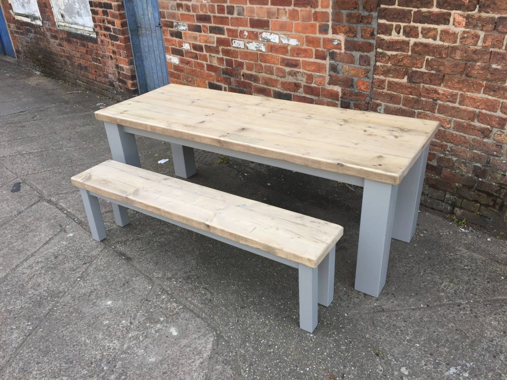 Chunky Rustic Reclaimed Wood Dining Table With Square Legs And A Matching Bench With Painted Base Modern Farmhouse Style Made To Measure