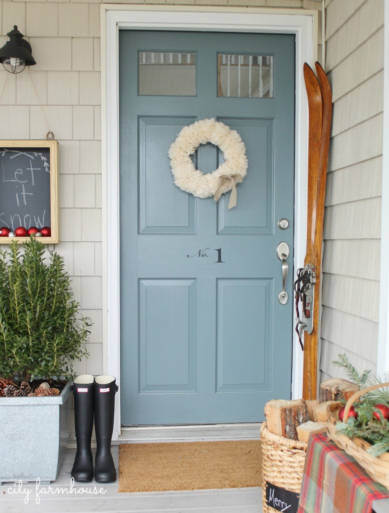 City Farmhouse Simple Front Door Pom Pom Wreath Vintage Skis