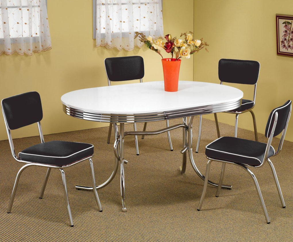 Cleveland Chrome Plated Oval Dining Table Casual Kitchen Dining