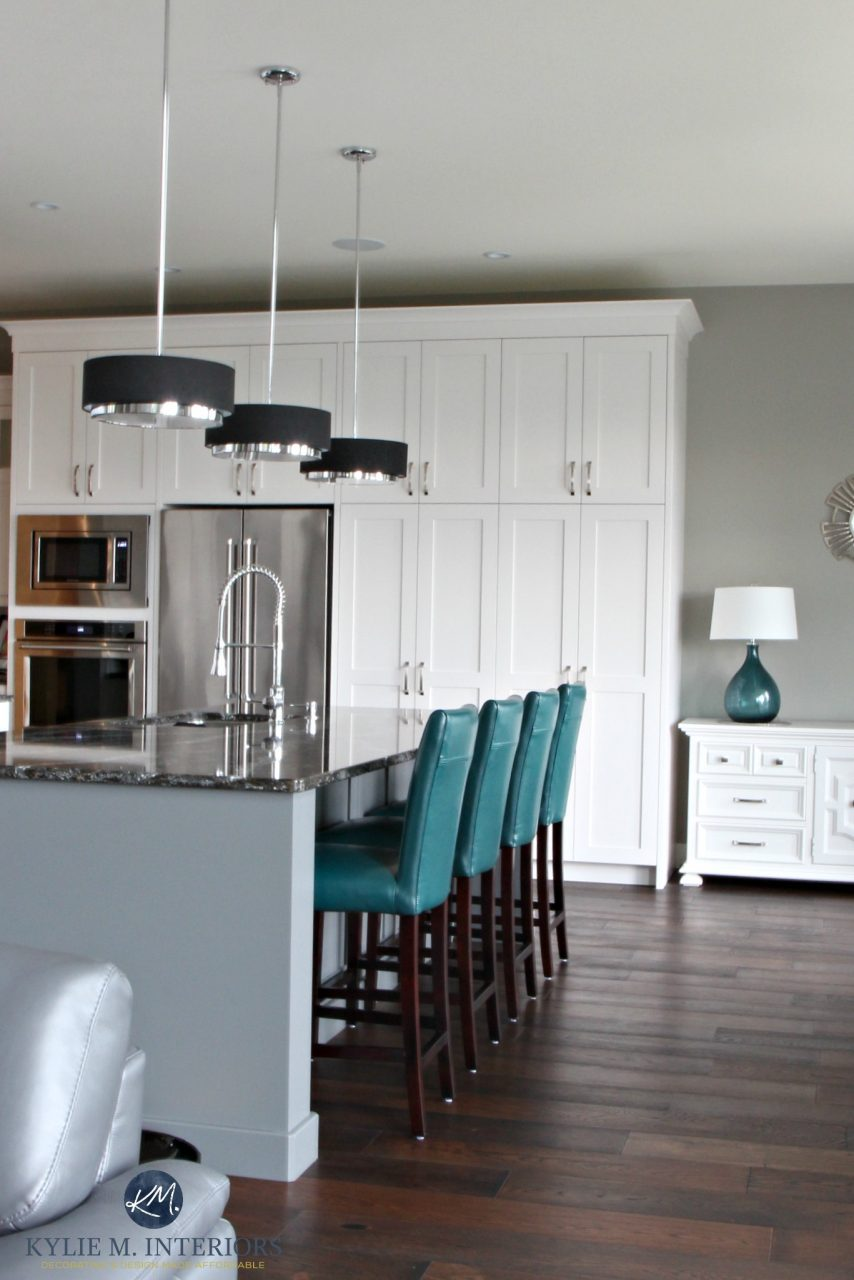 Contemporary White Kitchen With Gray Painted Island In Cambria