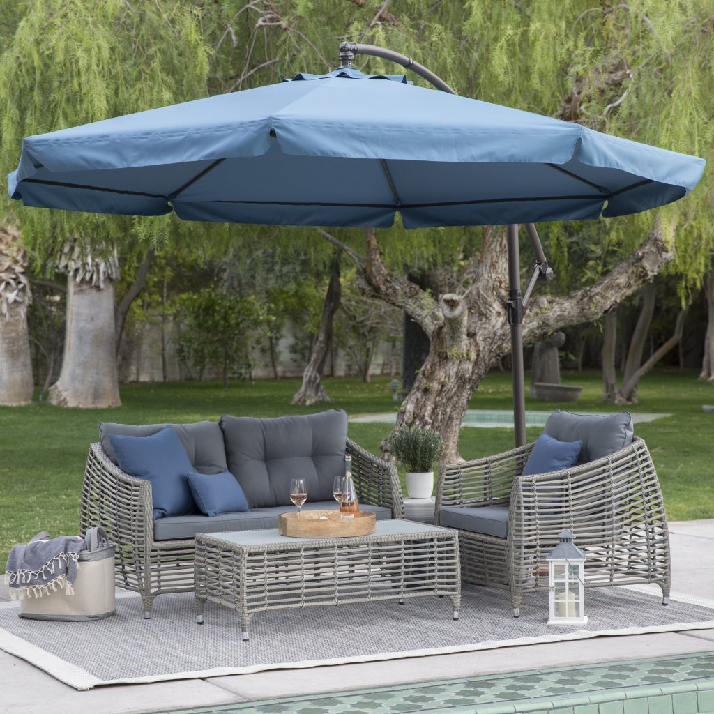 Coral Coast 11 Ft Steel Offset Patio Umbrella With Detachable