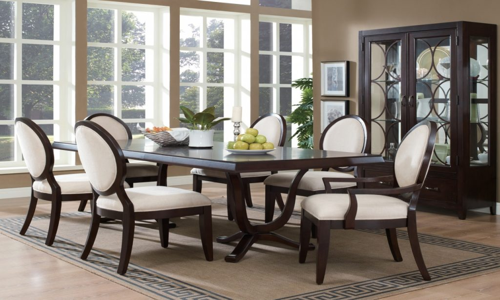 Dark Brown Dining Table And Chairs Modern Formal Dining Queen Anne