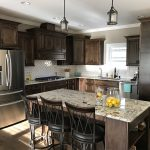 Dark Walnut Stained Kitchen Cabinets