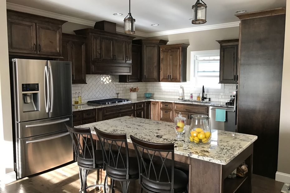 Dark Walnut Stained Cabinets Alaska White Granite White Subway