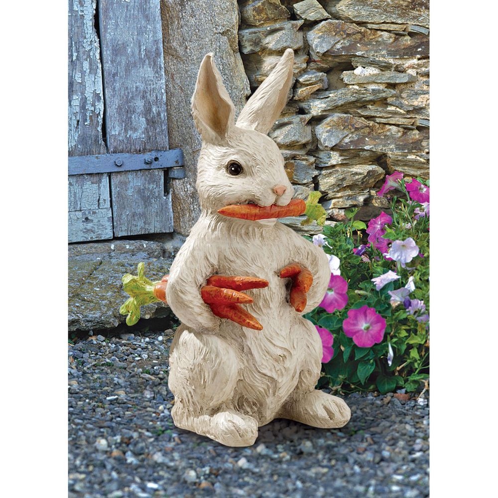 Designer Carrot Bunny Rabbit Statue Figure Sculpture Outdoor Garden