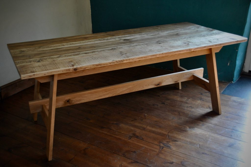 Dining Table Reclaimed Wood Farmhouse Rustic Reclaimed Scaffold And Oak Table Rustic Scaffold Board Furniture Bespoke Dining Table Hand Made