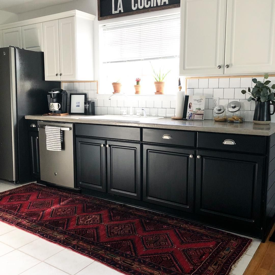 Diy Kitchen With Vintage Rug Neutral With A Splash Of Red This
