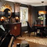Dramatic Black Gold And Brown Rooms Trends Including Living Room
