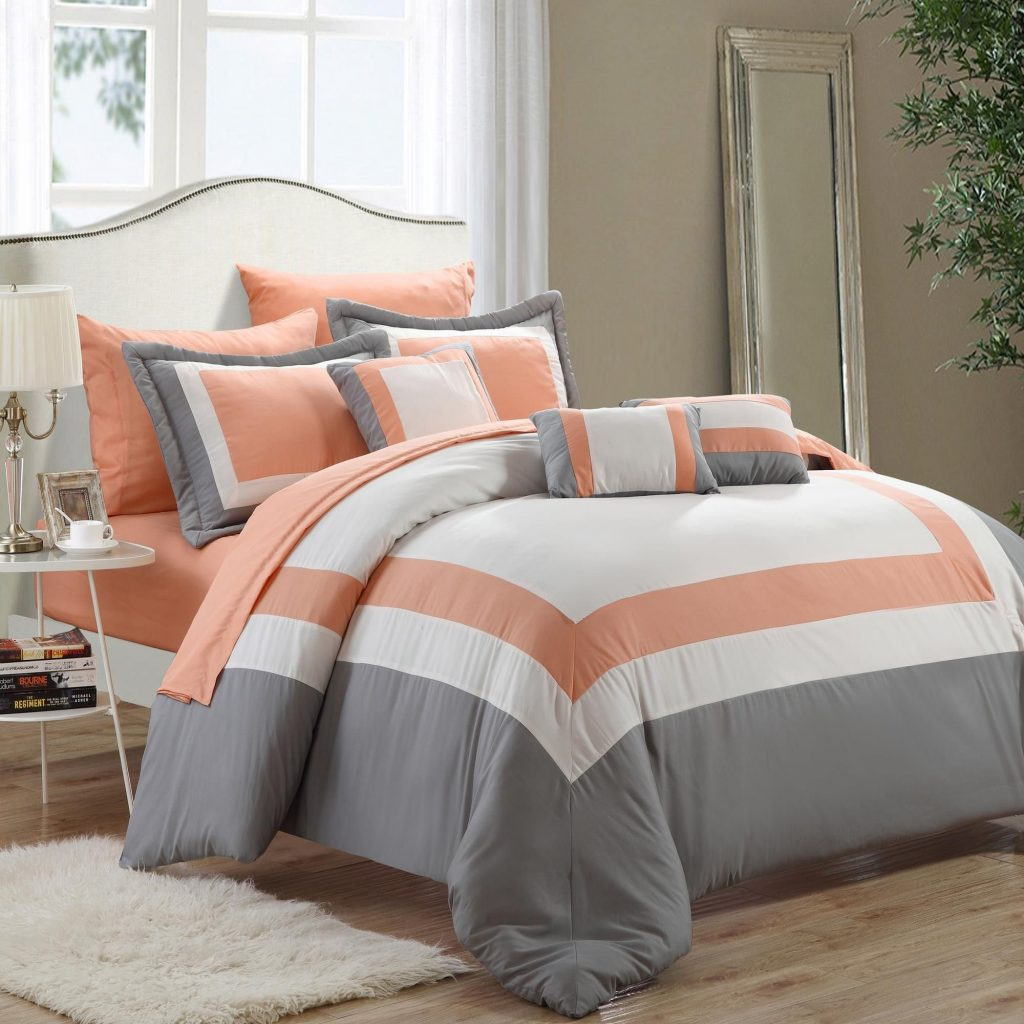 Duke Peach White Grey 10 Piece Comforter Bed In A Bag Set