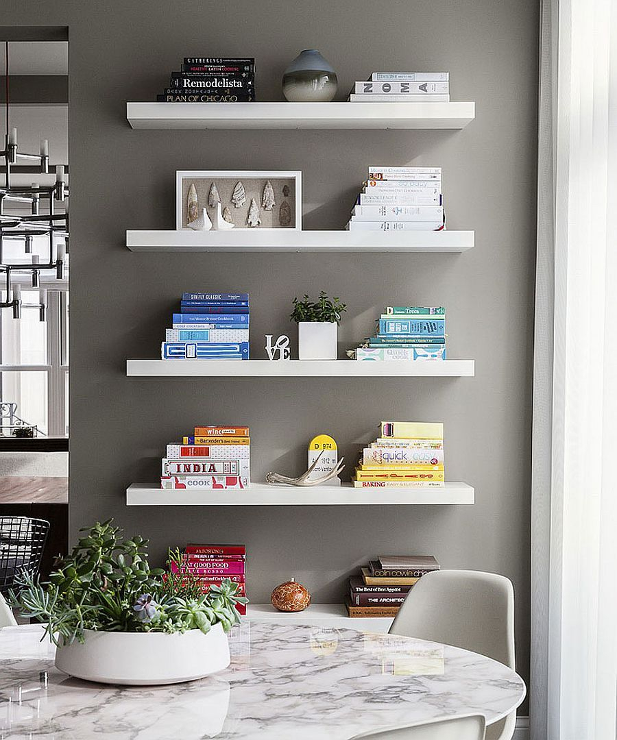 Floating White Shelves In The Dining Room Add Grace And Minimalist